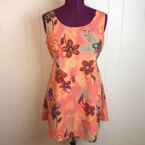 Vintage 90s Orange Summer Shift A Line Dress